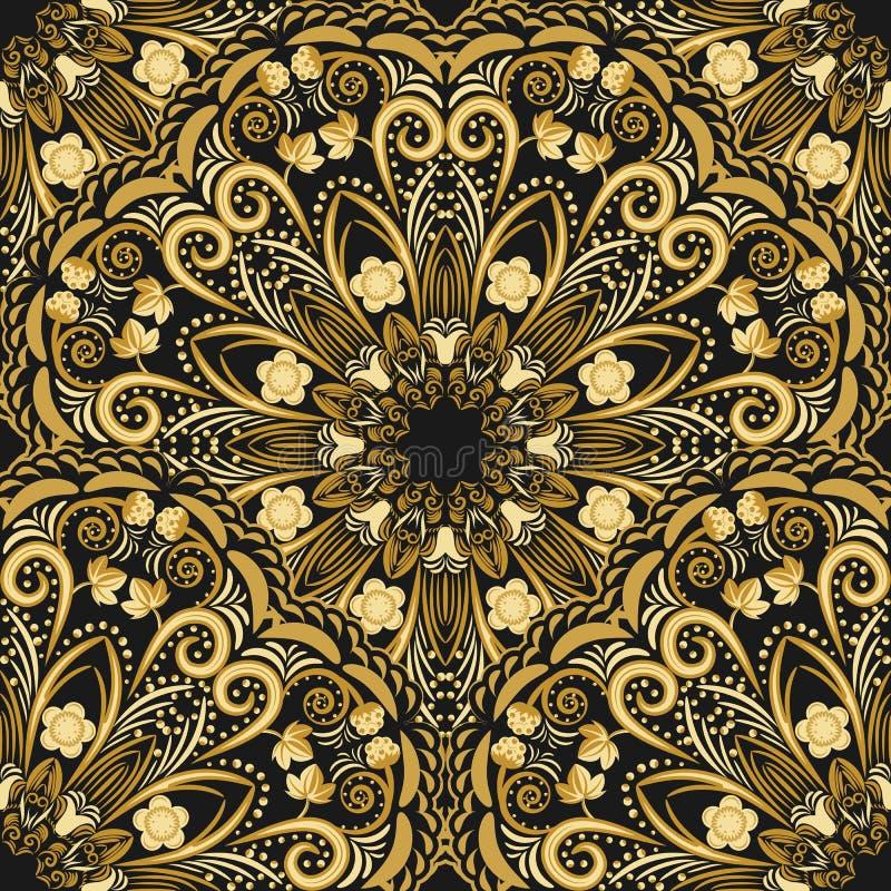 Богато украшенная безшовная картина золотой мандалы на черной предпосылке иллюстрация вектора