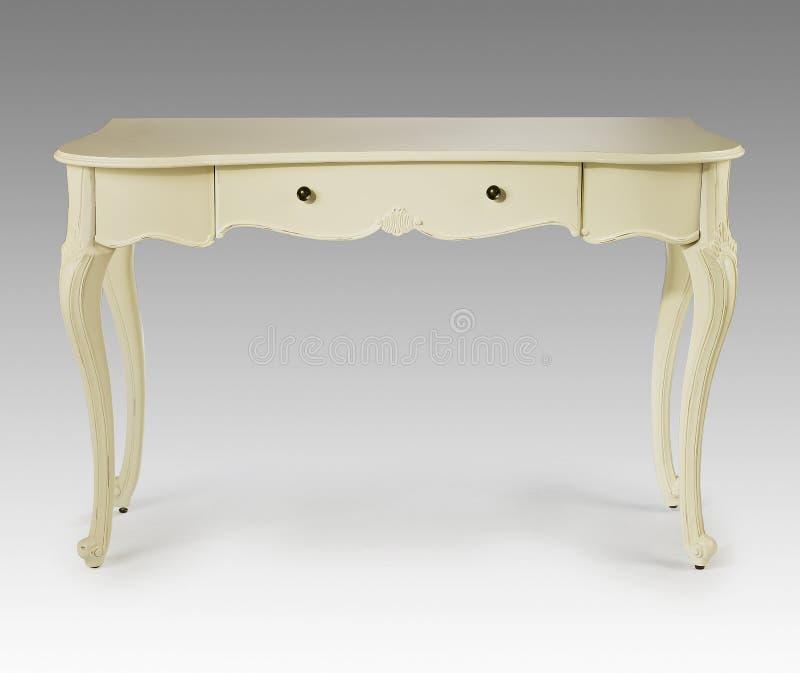 Богато украшенная белая деревянная таблица шлихты стоковые изображения rf