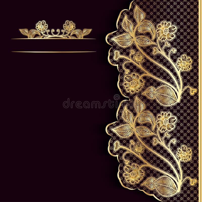 Богато украшенная винтажная темная предпосылка с золотым шнурком Шаблон для поздравительной открытки, приглашения или крышки иллюстрация штока