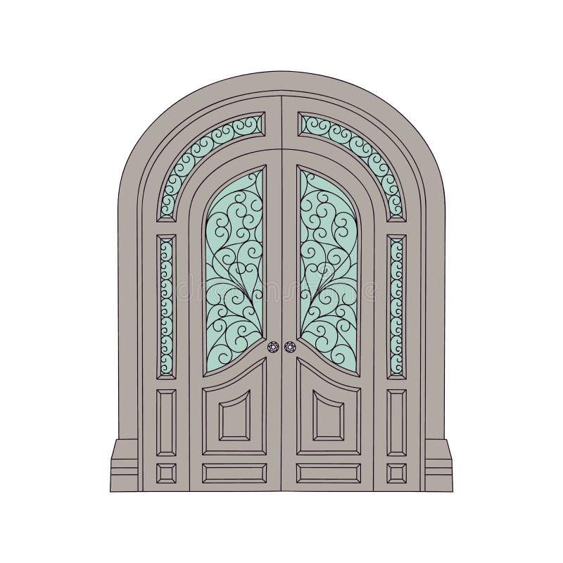 Богато украшенная двойная дверь в старом античном стиле архитектуры замка иллюстрация штока
