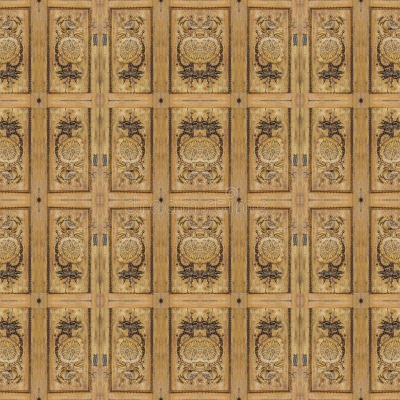 Богато украшенная деревянная барочная безшовная картина стоковые изображения