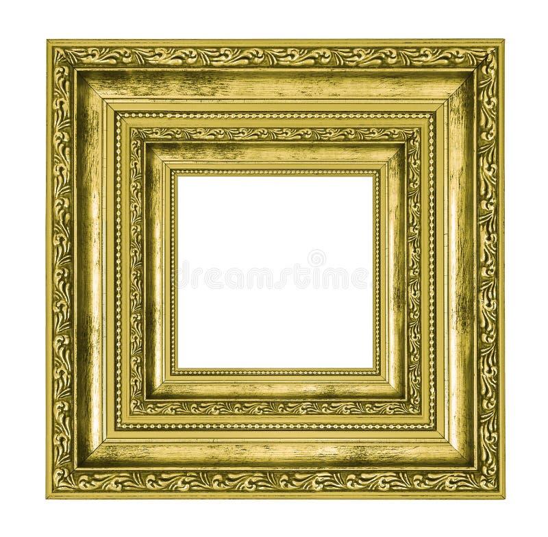 Богато украшенная золотая квадратная рамка стоковые изображения rf