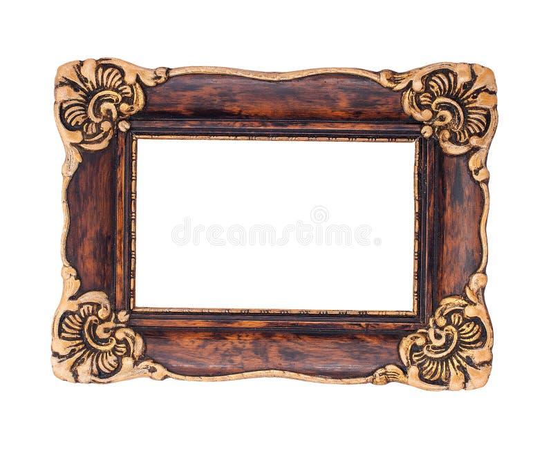 Богато украшенная коричневая и золотая барочная рамка изолированная на задней части белизны стоковое изображение