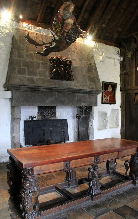 Богато украшенная мебель, портреты и скульптура внутреннее одно смертной казни через повешение много комнат замка Bunratty, графс стоковые изображения rf