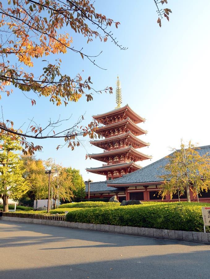 Богато украшенная пагода 5-этажа на виске Sensoji в токио, Японии стоковое изображение rf