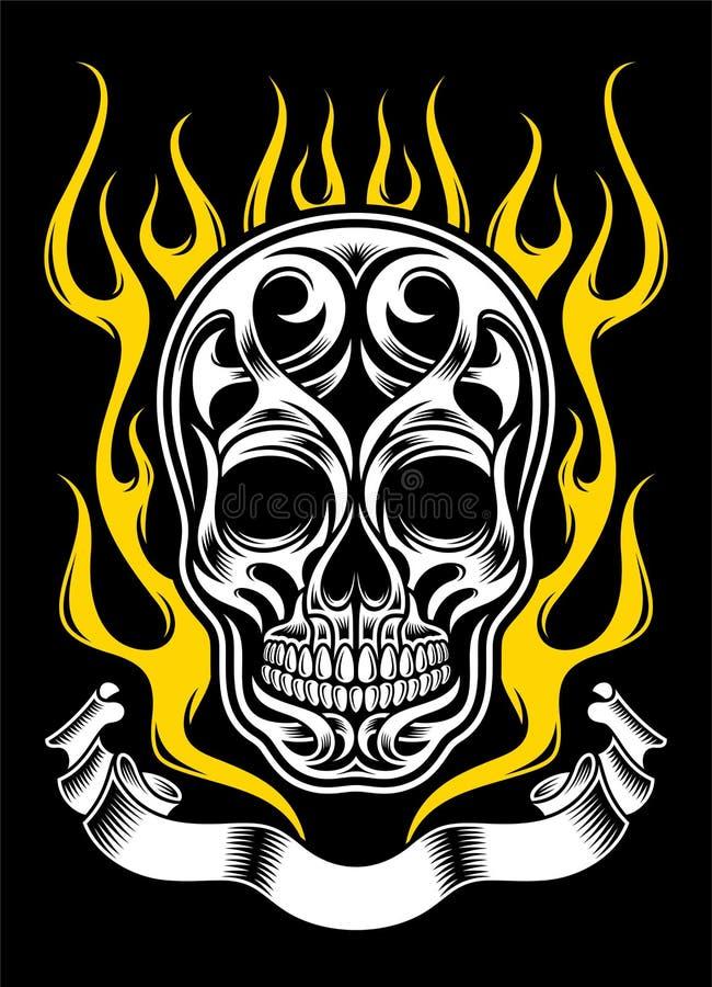 Богато украшенная татуировка черепа пламени иллюстрация штока