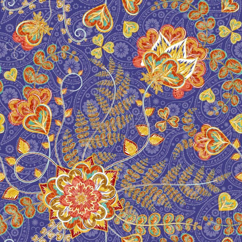 Богато украшенная фантазия цветет безшовная картина Пейсли Флористический орнамент на темной предпосылке для ткани, ткани, карточ бесплатная иллюстрация