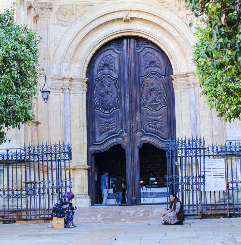 Богато украшенные двери иконического собора Испании Малаги стоковые фотографии rf
