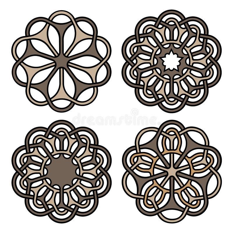 Богато украшенные мандалы или комплект символов татуировки также вектор иллюстрации притяжки corel иллюстрация штока