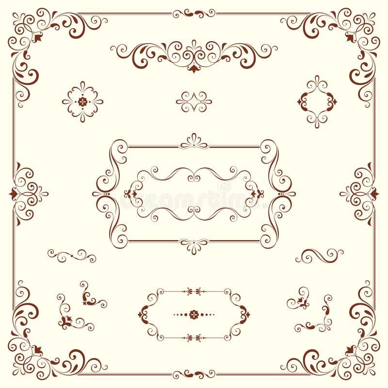 Богато украшенные мотивы и рамки иллюстрация штока