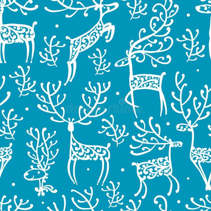 Богато украшенные олени, безшовная картина для вашего дизайна иллюстрация вектора