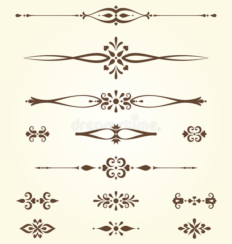 Богато украшенные установленные мотивы иллюстрация штока