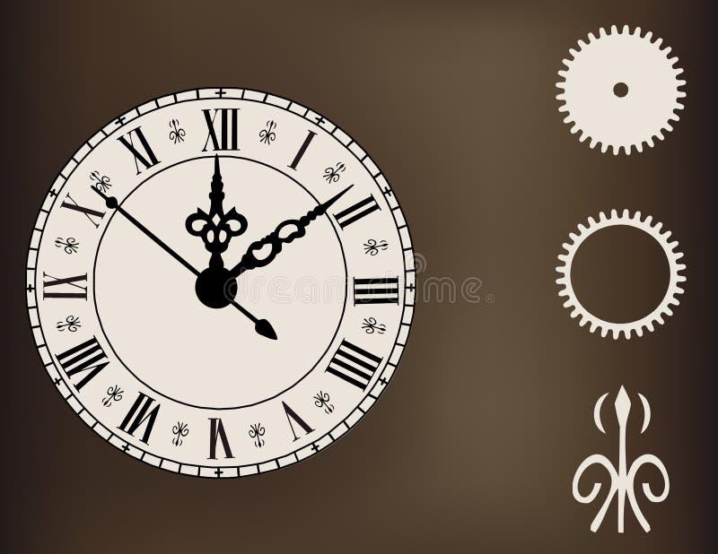Богато украшенные часы с шестернями элемента дизайна иллюстрация вектора