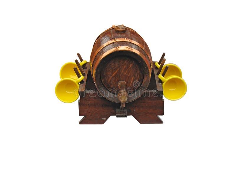 богато украшенный бочонка изолированное декором над белым вином стоковое изображение rf