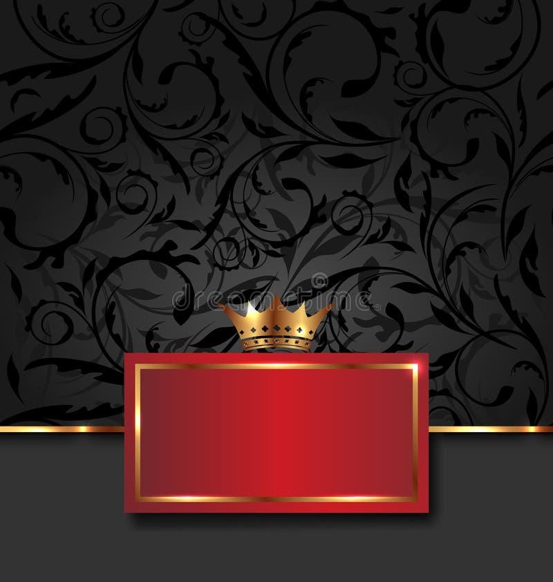 Богато украшенный декоративная рамка с золотистой кроной бесплатная иллюстрация