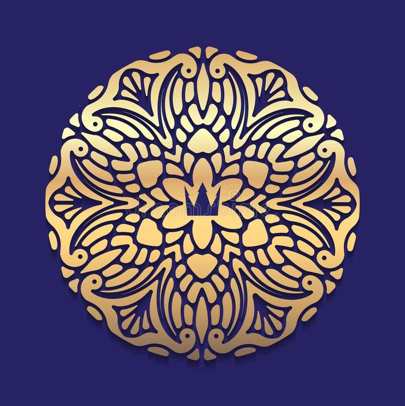 Богато украшенный, декоративный, шнурок, рамка золота, мандала на голубом темном backg иллюстрация штока