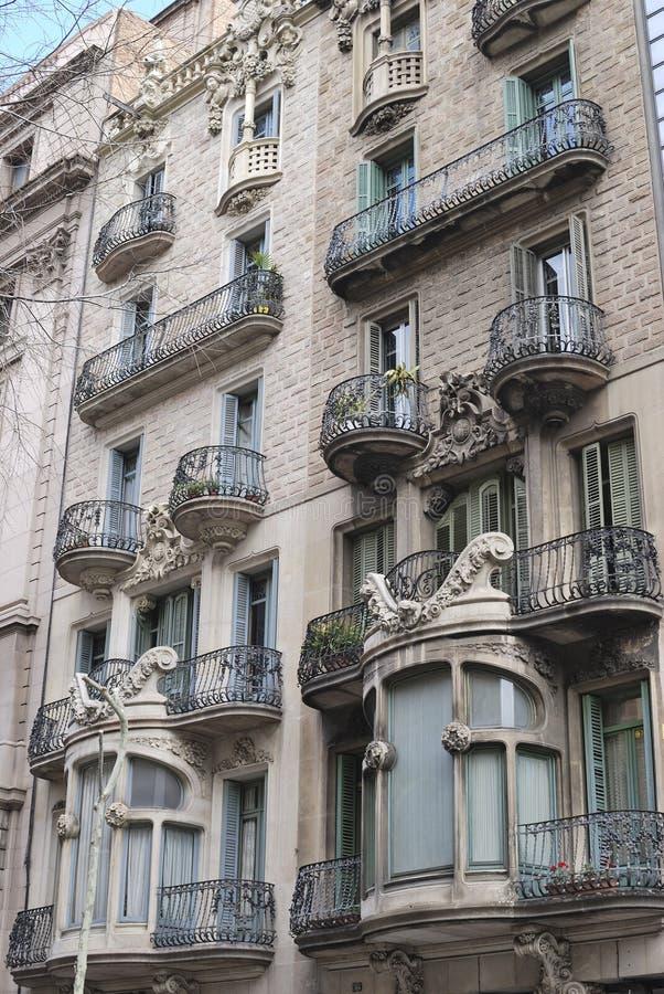 Богато украшенный жилой дом. Барселона. Испания стоковая фотография rf