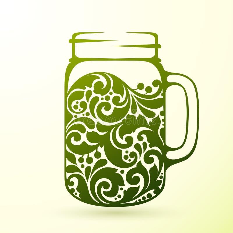 Богато украшенный здоровый зеленый свежий сок иллюстрация вектора