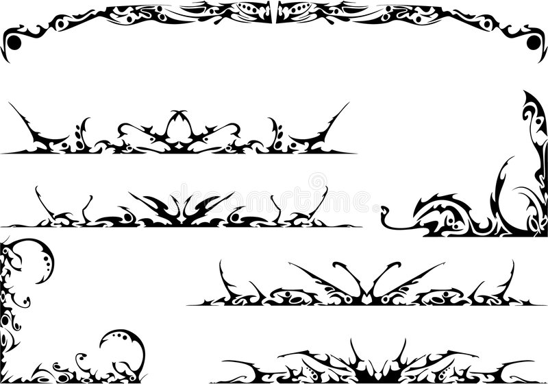 богато украшенный комплект соплеменный иллюстрация вектора