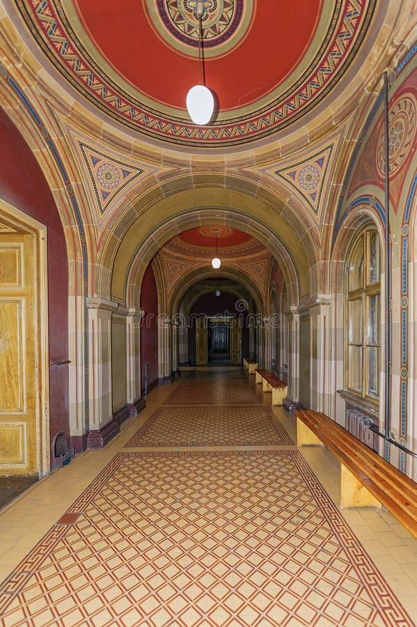 Богато украшенный коридор в университете Chernivtsi национальном в Chernivtsi, Украине стоковая фотография rf