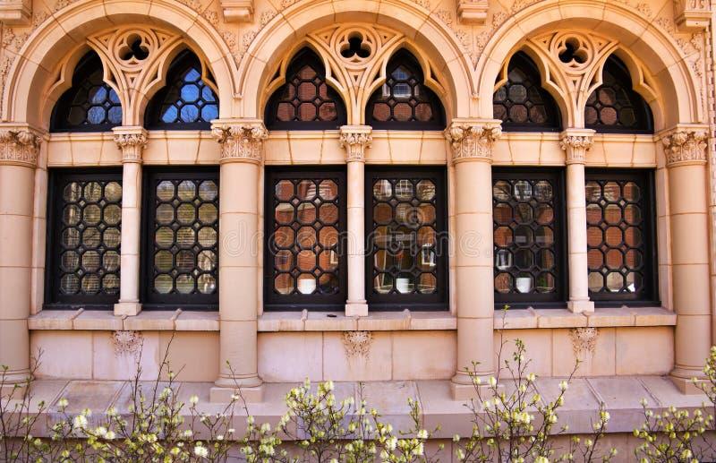 богато украшенный окна Ейль университета отражения стоковая фотография