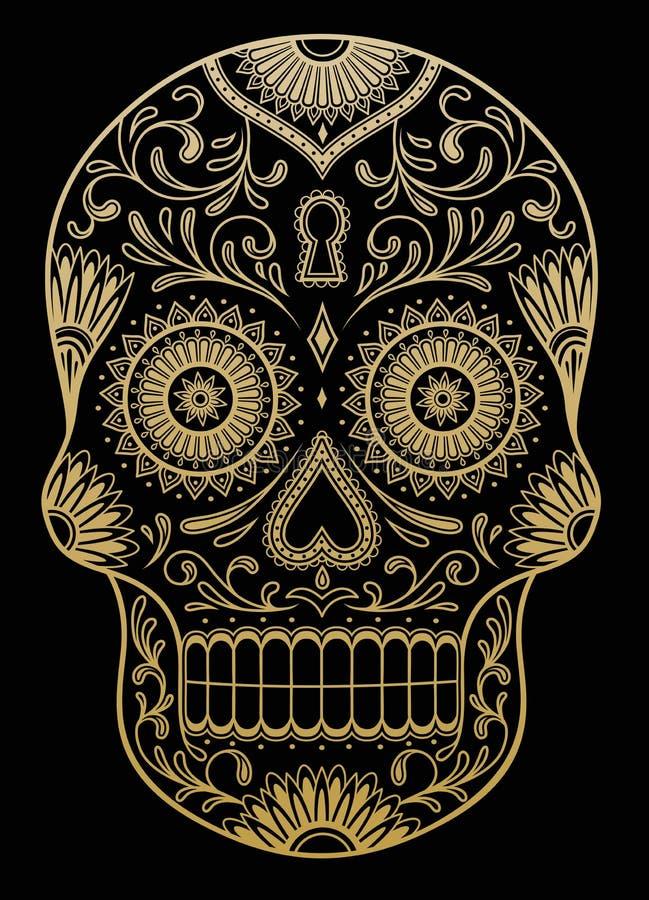 Богато украшенный один череп сахара цвета иллюстрация штока