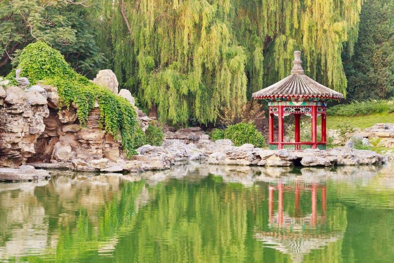 Богато украшенный павильон отраженный в озере, парке Ritan, Пекине, Китае стоковое изображение