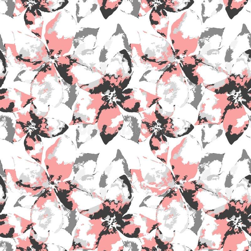 Богато украшенный силуэт цветков grunge серых и розовых с листьями на белой предпосылке иллюстрация штока