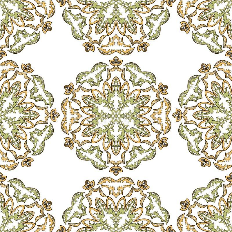 Богато украшенный симметричный орнамент в восточном стиле на безшовной предпосылке иллюстрация вектора