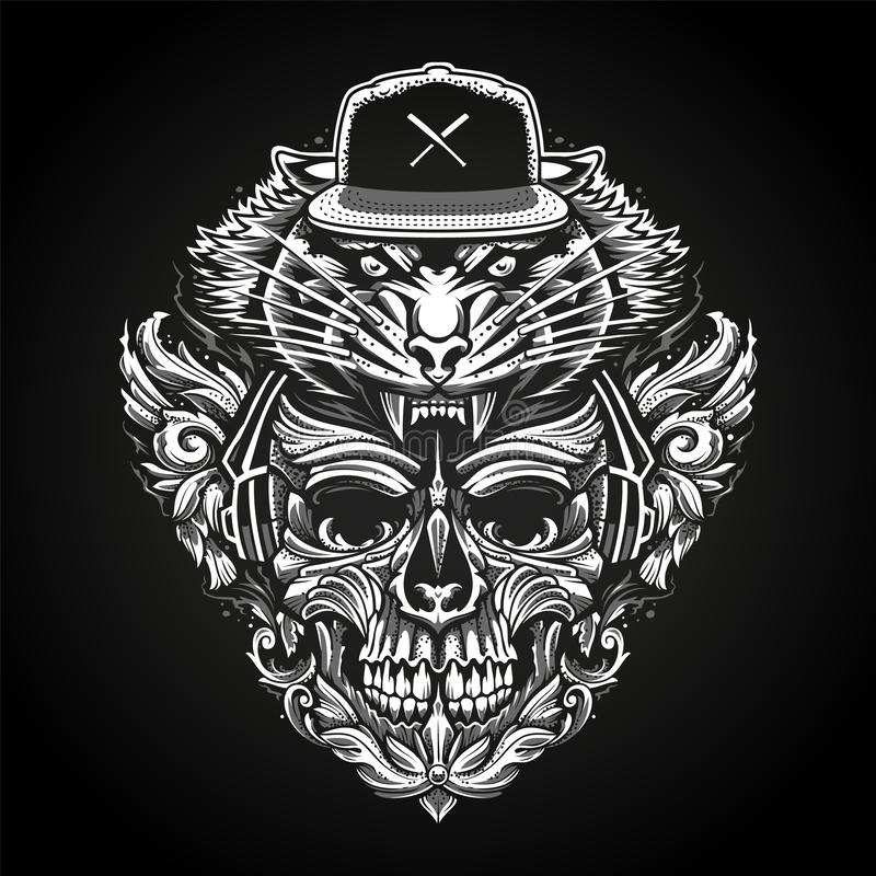 Богато украшенный череп в наушниках и голове тигра в Snapback иллюстрация вектора