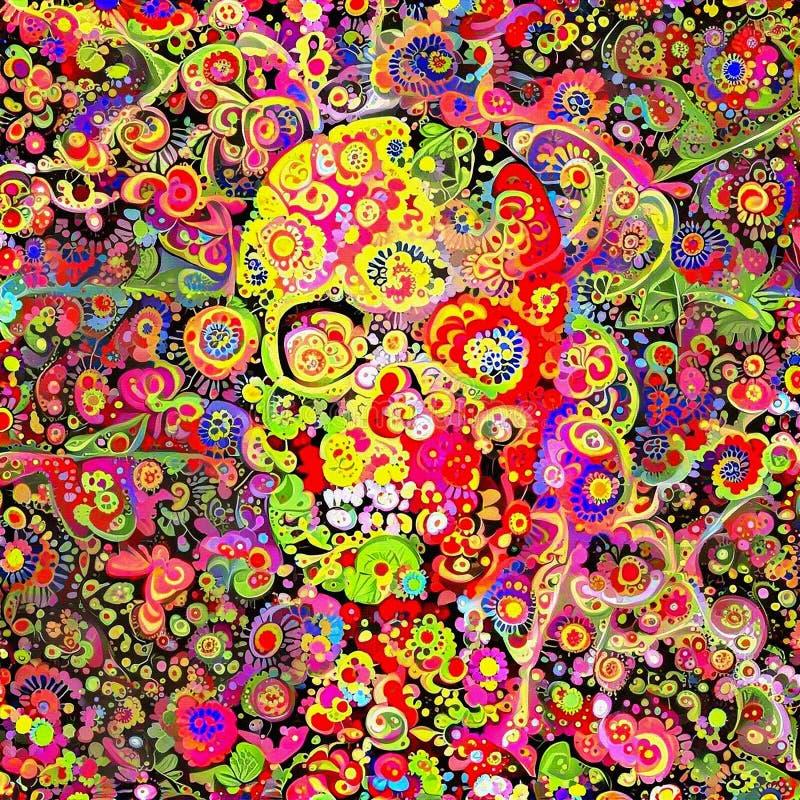Богато украшенный череп иллюстрация штока