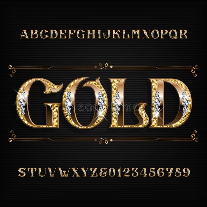 Богато украшенный шрифт алфавита золота Письма и номера ювелира золотые с драгоценными камнями диаманта бесплатная иллюстрация