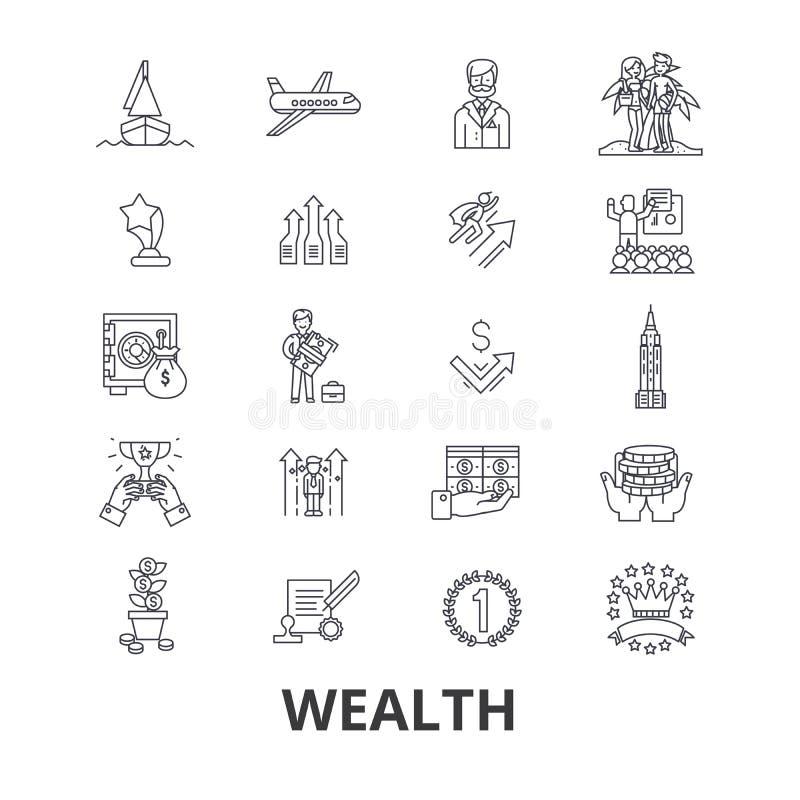 Богатство, банк, деньги, богачи, роскошь, успех, процветание, линия значки вклада Editable ходы Плоский вектор дизайна иллюстрация штока