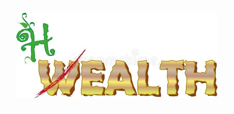 богатство надписи здоровья не бесплатная иллюстрация