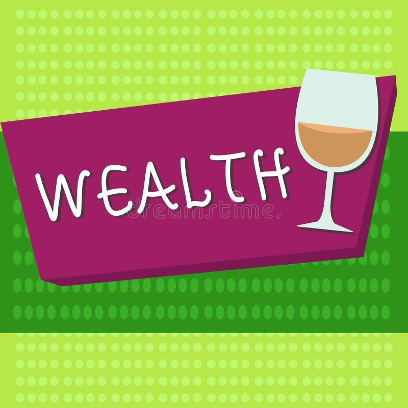 Богатство текста почерка Концепция знача обилие ценных владений или денег для того чтобы быть очень богатой роскошью иллюстрация штока