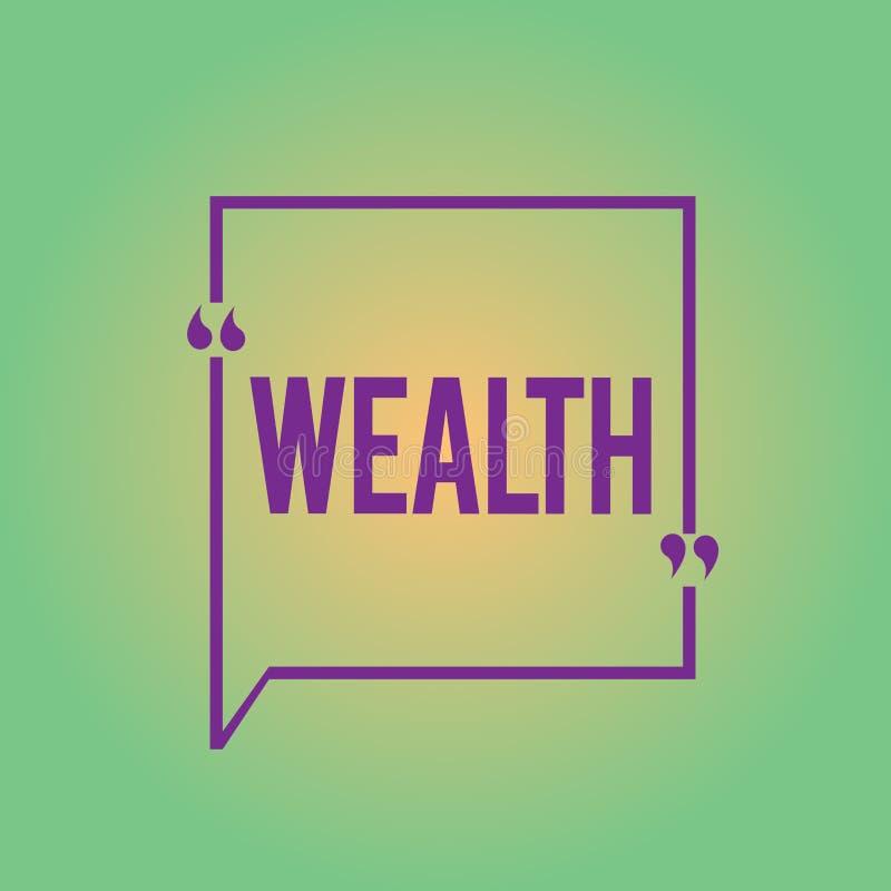 Богатство текста сочинительства слова Концепция дела для обилия ценных владений или денег, который нужно быть очень богатой роско иллюстрация вектора