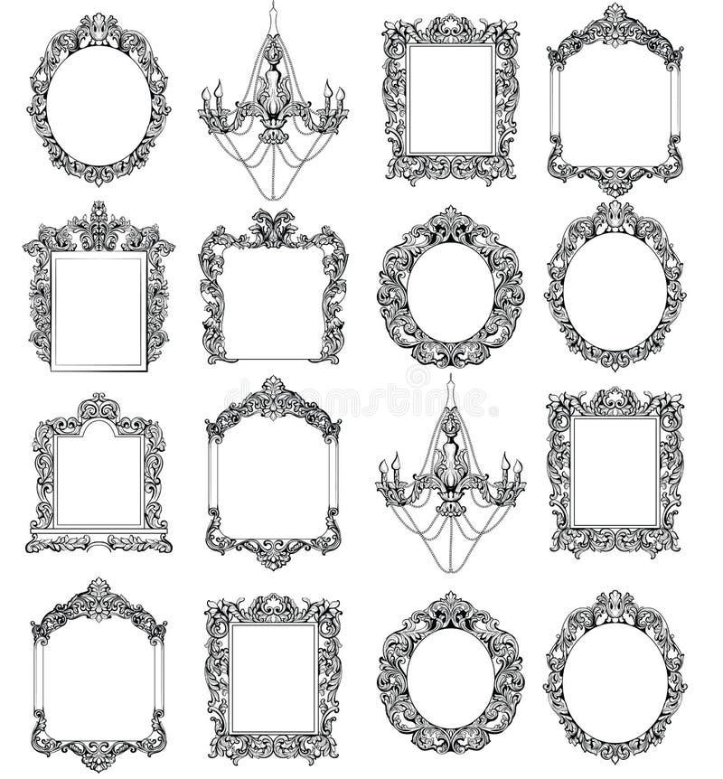 Богатые имперские барочные установленные рамки рококо Французской орнаменты высекаенные роскошью Украшенный стиль вектора виктори иллюстрация штока