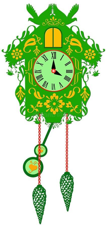 Богатые украшенные традиционные часы с кукушкой стоковые изображения