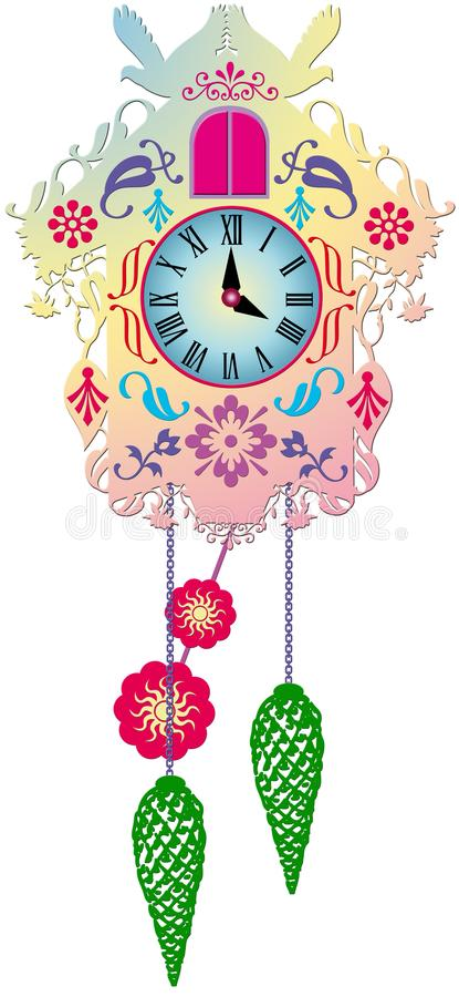 Богатые украшенные традиционные часы с кукушкой стоковая фотография