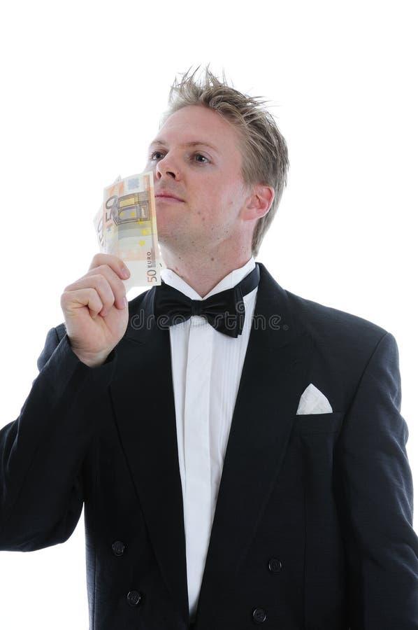Богатый человек в куртке обеда стоковое фото rf