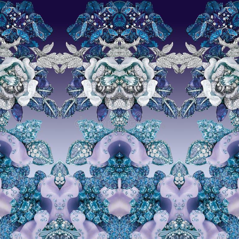 Богачи печатают с геометрией, камнями, диамантами, кристаллами, цветками, сапфиром и украшениями стоковое фото