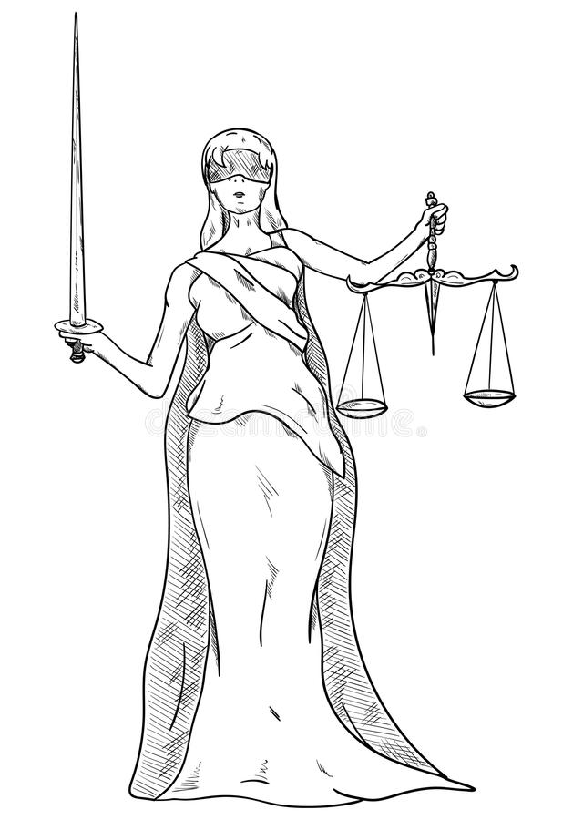 Богина правосудия бесплатная иллюстрация