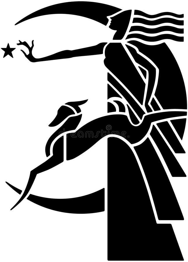 Богиня луны стиля Арт Деко с собакой бесплатная иллюстрация