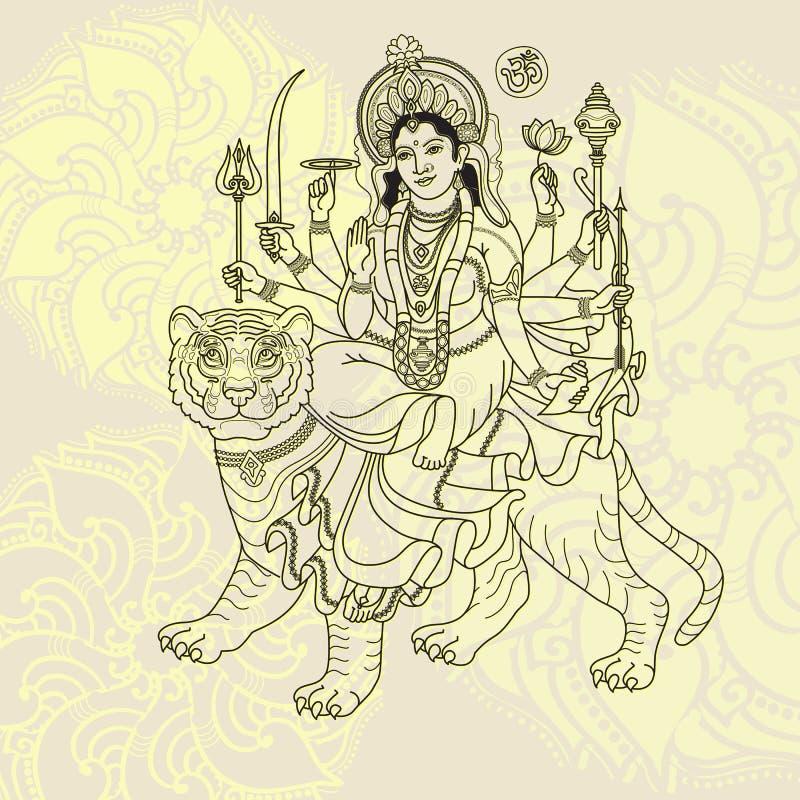 Богиня Durga Hindy сидя на тигре иллюстрация вектора