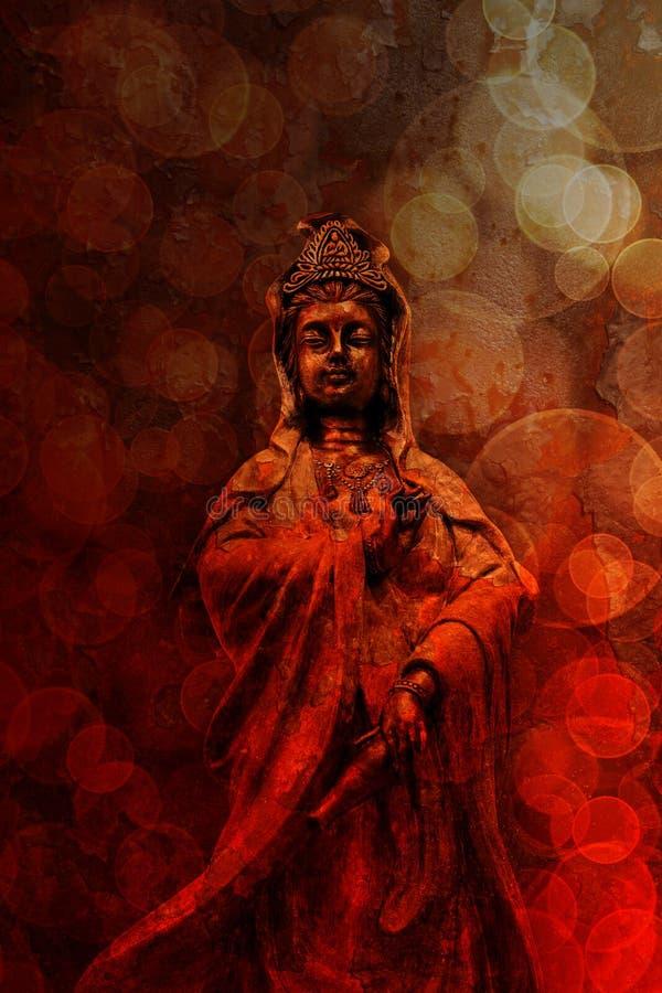 Богиня Grunge красного цвета статуи бронзы сострадания стоковое фото rf