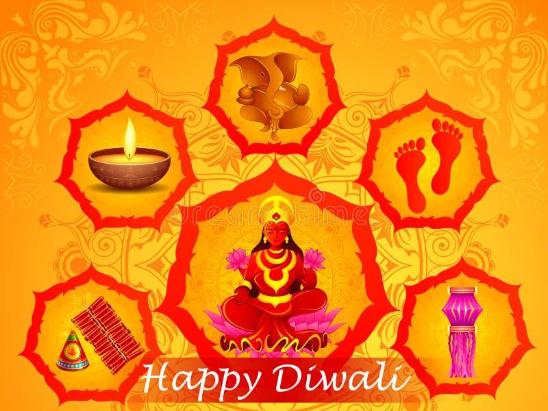 Богиня Lakshmi и лорд Ganesha в счастливом празднике Diwali Индии иллюстрация штока