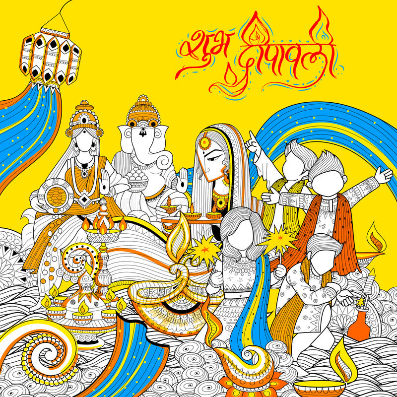 Богиня Lakshmi и лорд Ganesha на счастливом празднике Diwali doodle предпосылка для светлого фестиваля Индии бесплатная иллюстрация