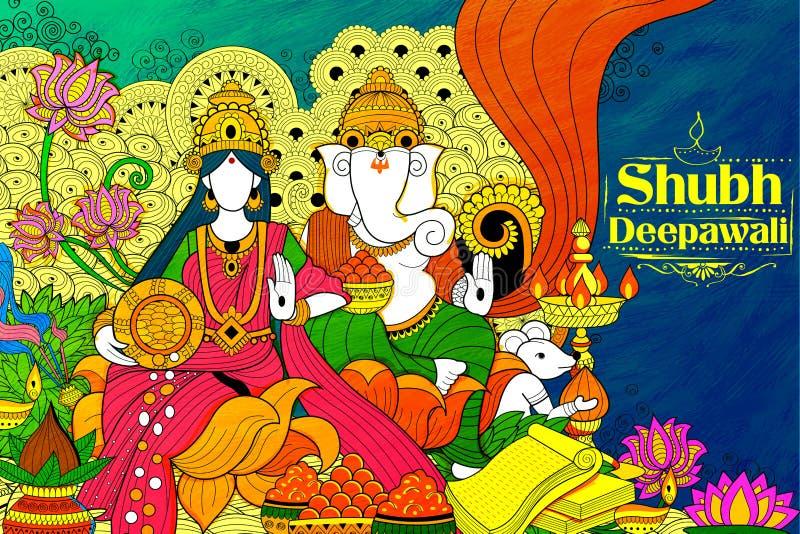 Богиня Lakshmi и лорд Ganesha на счастливом празднике Diwali doodle предпосылка для светлого фестиваля Индии иллюстрация вектора