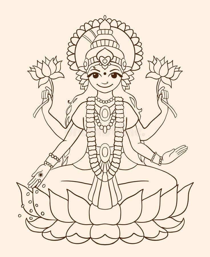 Богиня Lakshmi - приносит богатство и процветание. бесплатная иллюстрация