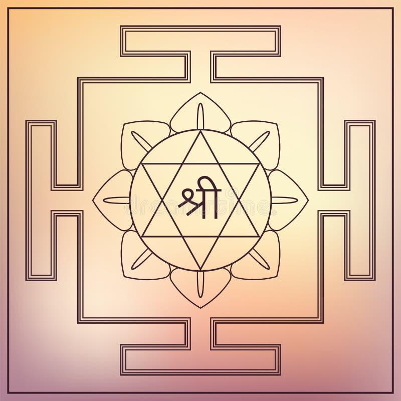 Богиня Lakshmi Yantra. иллюстрация штока